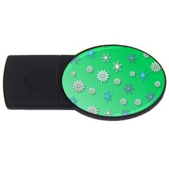 Snowflakes Winter Christmas Overlay Usb Flash Drive Oval (4 Gb) by Amaryn4rt