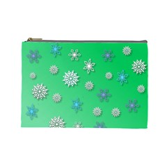 Snowflakes Winter Christmas Overlay Cosmetic Bag (large)