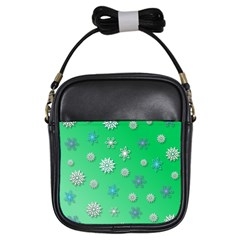 Snowflakes Winter Christmas Overlay Girls Sling Bags by Amaryn4rt