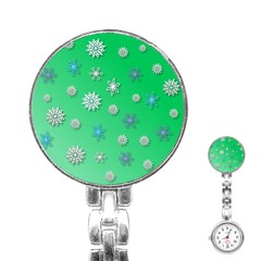 Snowflakes Winter Christmas Overlay Stainless Steel Nurses Watch by Amaryn4rt