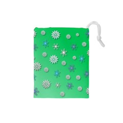 Snowflakes Winter Christmas Overlay Drawstring Pouches (small)  by Amaryn4rt