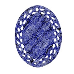 Texture Blue Neon Brick Diagonal Oval Filigree Ornament (two Sides) by Amaryn4rt