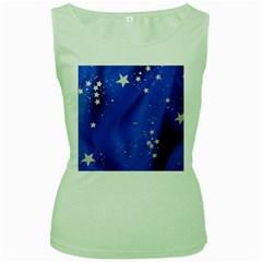 The Substance Blue Fabric Stars Women s Green Tank Top by Amaryn4rt