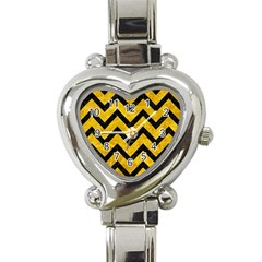 Chevron9 Black Marble & Yellow Marble (r) Heart Italian Charm Watch by trendistuff