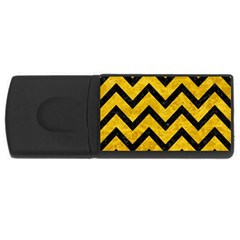 Chevron9 Black Marble & Yellow Marble (r) Usb Flash Drive Rectangular (4 Gb) by trendistuff