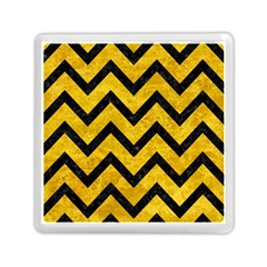 Chevron9 Black Marble & Yellow Marble (r) Memory Card Reader (square) by trendistuff
