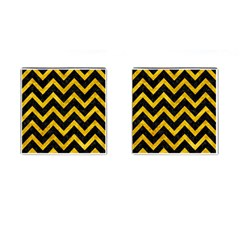 Chevron9 Black Marble & Yellow Marble Cufflinks (square) by trendistuff