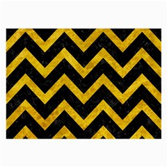 Chevron9 Black Marble & Yellow Marble Large Glasses Cloth (2 Sides) by trendistuff