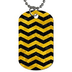 Chevron3 Black Marble & Yellow Marble Dog Tag (two Sides)