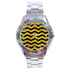 Chevron3 Black Marble & Yellow Marble Stainless Steel Analogue Watch by trendistuff