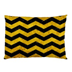 Chevron3 Black Marble & Yellow Marble Pillow Case (two Sides) by trendistuff
