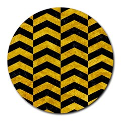 Chevron2 Black Marble & Yellow Marble Round Mousepad by trendistuff