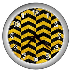 Chevron2 Black Marble & Yellow Marble Wall Clock (silver) by trendistuff