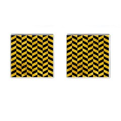 Chevron1 Black Marble & Yellow Marble Cufflinks (square) by trendistuff