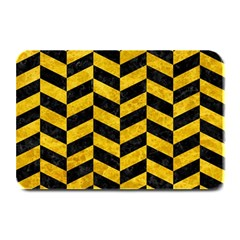 Chevron1 Black Marble & Yellow Marble Plate Mat by trendistuff