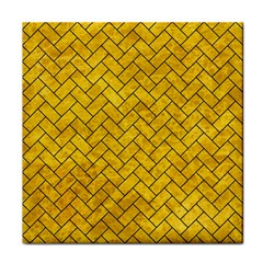 Brick2 Black Marble & Yellow Marble (r) Tile Coaster by trendistuff