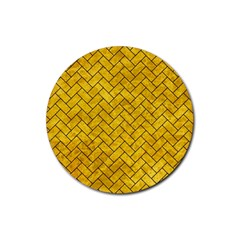 Brick2 Black Marble & Yellow Marble (r) Rubber Coaster (round) by trendistuff