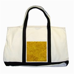 Brick2 Black Marble & Yellow Marble (r) Two Tone Tote Bag by trendistuff