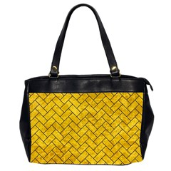 Brick2 Black Marble & Yellow Marble (r) Oversize Office Handbag (2 Sides) by trendistuff