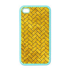 Brick2 Black Marble & Yellow Marble (r) Apple Iphone 4 Case (color) by trendistuff
