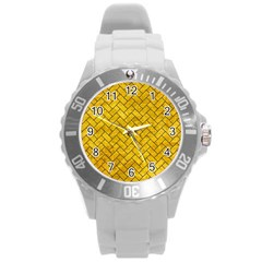 Brick2 Black Marble & Yellow Marble (r) Round Plastic Sport Watch (l) by trendistuff