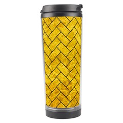 Brick2 Black Marble & Yellow Marble (r) Travel Tumbler by trendistuff