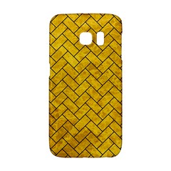 Brick2 Black Marble & Yellow Marble (r) Samsung Galaxy S6 Edge Hardshell Case by trendistuff