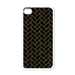 Brick2 Black Marble & Yellow Marble Apple Iphone 4 Case (white) by trendistuff