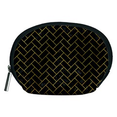 Brick2 Black Marble & Yellow Marble Accessory Pouch (medium) by trendistuff