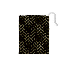 Brick2 Black Marble & Yellow Marble Drawstring Pouch (small) by trendistuff