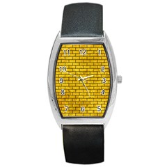 Brick1 Black Marble & Yellow Marble (r) Barrel Style Metal Watch