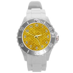 Brick1 Black Marble & Yellow Marble (r) Round Plastic Sport Watch (l) by trendistuff