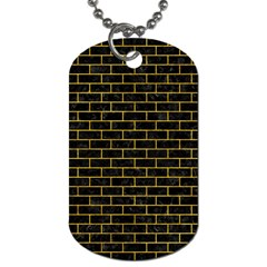 Brick1 Black Marble & Yellow Marble Dog Tag (one Side) by trendistuff