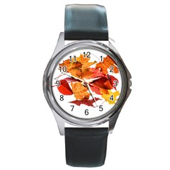 Autumn Leaves Leaf Transparent Round Metal Watch by Amaryn4rt