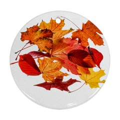 Autumn Leaves Leaf Transparent Ornament (round) by Amaryn4rt