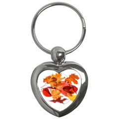 Autumn Leaves Leaf Transparent Key Chains (heart)  by Amaryn4rt