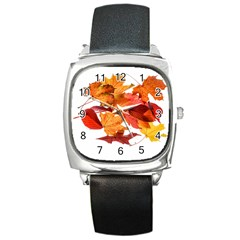Autumn Leaves Leaf Transparent Square Metal Watch by Amaryn4rt
