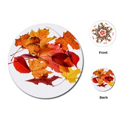 Autumn Leaves Leaf Transparent Playing Cards (round)  by Amaryn4rt