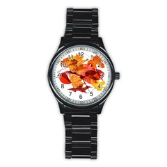 Autumn Leaves Leaf Transparent Stainless Steel Round Watch by Amaryn4rt