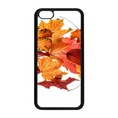 Autumn Leaves Leaf Transparent Apple Iphone 5c Seamless Case (black) by Amaryn4rt