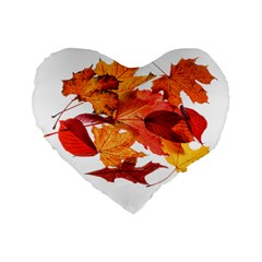 Autumn Leaves Leaf Transparent Standard 16  Premium Flano Heart Shape Cushions by Amaryn4rt