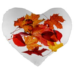 Autumn Leaves Leaf Transparent Large 19  Premium Flano Heart Shape Cushions by Amaryn4rt