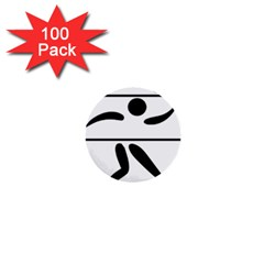 Badminton Pictogram 1  Mini Buttons (100 Pack)  by abbeyz71