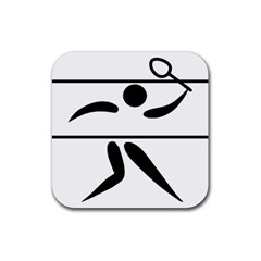Badminton Pictogram Rubber Coaster (square)  by abbeyz71
