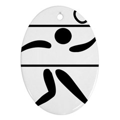 Badminton Pictogram Oval Ornament (two Sides) by abbeyz71