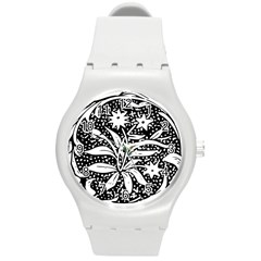 Decoration Pattern Design Flower Round Plastic Sport Watch (m) by Amaryn4rt