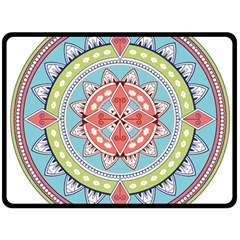 Drawing Mandala Art Double Sided Fleece Blanket (large)