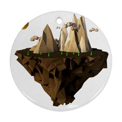 Low Poly Floating Island 3d Render Round Ornament (two Sides) by Amaryn4rt