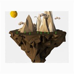 Low Poly Floating Island 3d Render Small Glasses Cloth (2 Side)