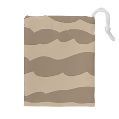 Pattern Wave Beige Brown Drawstring Pouches (extra Large)